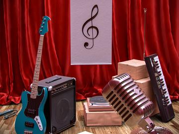 Agarre num instrumento e cante.